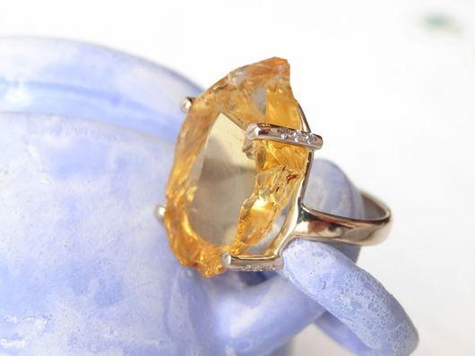Кольца ручной работы. Ярмарка Мастеров - ручная работа. Купить Золотое кольцо с цитрином и бриллиантами. Handmade. Рыжий, стильное кольцо