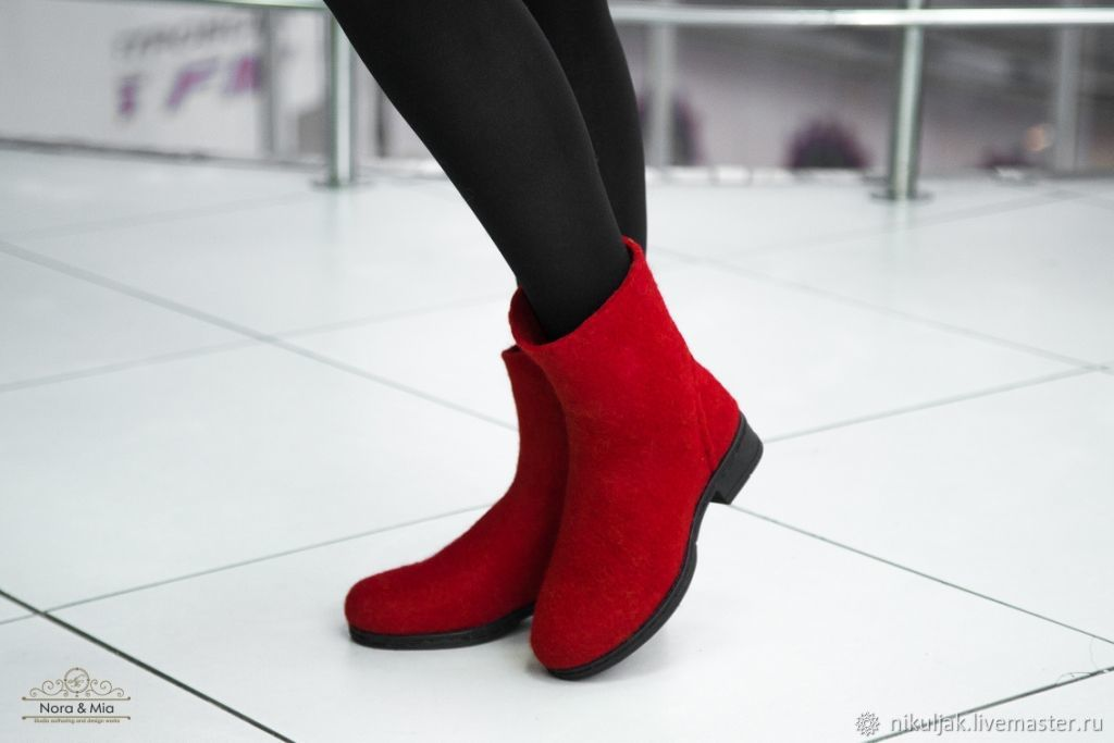 Felted boots esthete (red, emerald), Ankle boot, Dnepropetrovsk,  Фото №1