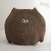 Подушки ручной работы. Ярмарка Мастеров - ручная работа Плюшевая круглая подушка-игрушка Сова. Handmade.