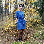 Одежда handmade. Livemaster - original item Dress linen cornflower. Handmade.