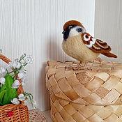 Куклы и игрушки handmade. Livemaster - original item The bird is made of wool. Felt bird. Sparrow.. Handmade.