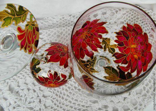 Бокалы, стаканы ручной работы. Ярмарка Мастеров - ручная работа. Купить Бокалы для вина Хризантемы. Handmade. Разноцветный, ручная роспись