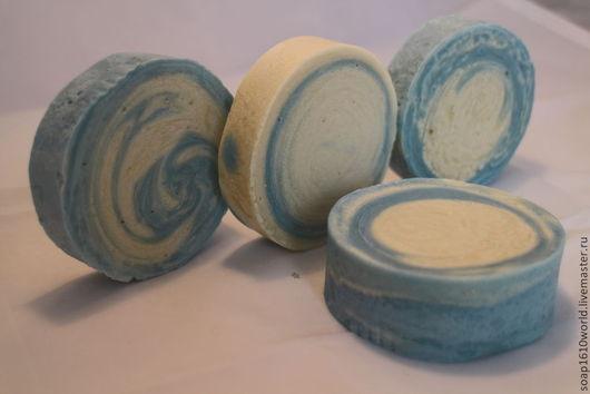 Мыло-шампунь ручной работы. Ярмарка Мастеров - ручная работа. Купить твёрдый шампунь для осветлённых волос  Найоли. Handmade. Голубой