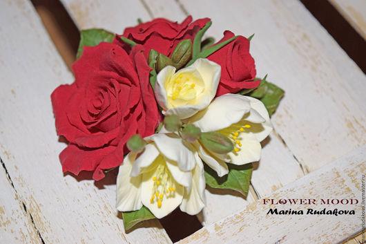 """Броши ручной работы. Ярмарка Мастеров - ручная работа. Купить Брошь """"Роза"""". Handmade. Ярко-красный, брошь роза"""