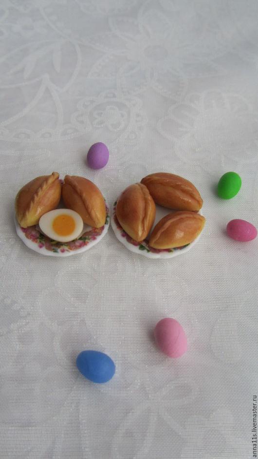 Еда ручной работы. Ярмарка Мастеров - ручная работа. Купить Пирожки на тарелочке. Миниатюра. Handmade. Пирожок, еда, миниатюрная еда