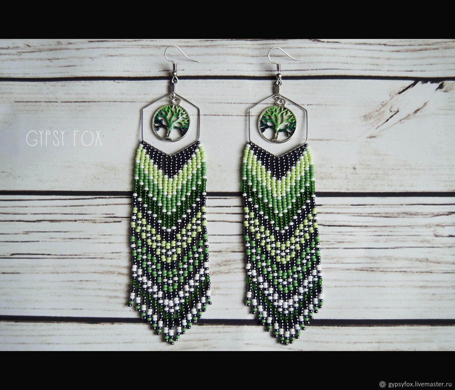 Earrings-brushes made of beads, Tassel earrings, Tyumen,  Фото №1