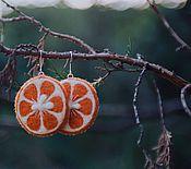 Украшения ручной работы. Ярмарка Мастеров - ручная работа Серьги из шерсти Мы делили апельсин. Handmade.