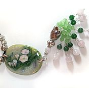 Украшения handmade. Livemaster - original item Painted pendant with a brush – Bindweed (lacquer miniature). Handmade.