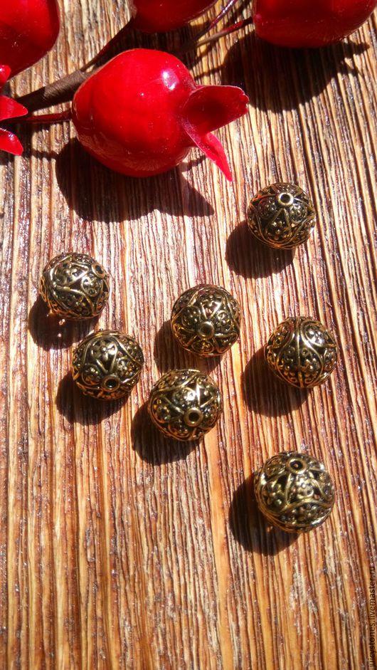 Для украшений ручной работы. Ярмарка Мастеров - ручная работа. Купить Бусины металлические ажурные античное золото (арт.0005). Handmade.