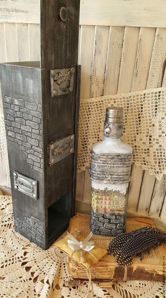 Подарки для мужчин, ручной работы. Ярмарка Мастеров - ручная работа. Купить винный короб и водка. Handmade. Серый, винный шкаф