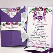 Свадебный салон ручной работы. Ярмарка Мастеров - ручная работа Фиолетовые приглашения с цветочным гербом. Handmade.