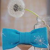Украшения ручной работы. Ярмарка Мастеров - ручная работа Брошь Загадай желание, лён, галстук-бабочка. Handmade.