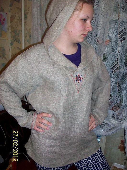 Для мужчин, ручной работы. Ярмарка Мастеров - ручная работа. Купить Рубаха с капюшоном. Handmade. Серый, Вышивка крестом, оберег