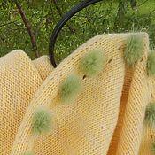 Аксессуары handmade. Livemaster - original item Yellow knitted snood with fur POM-POM. Handmade.