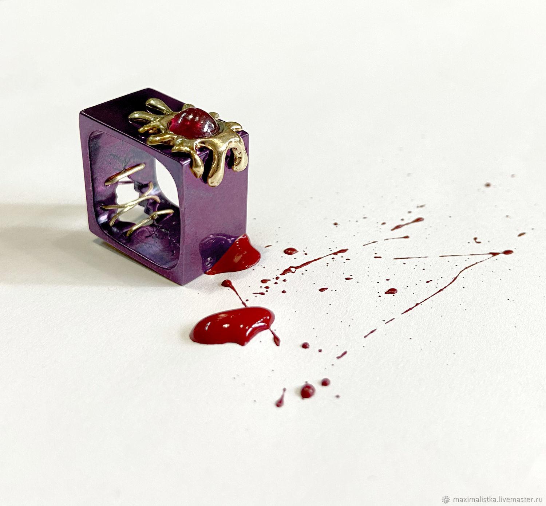 """Кольцо """"Рубиновая Клякса"""" Золото 585 желтое, рубин, титан, Кольца, Москва,  Фото №1"""