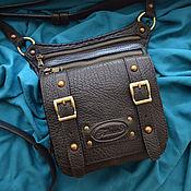 "Сумки и аксессуары handmade. Livemaster - original item Black leather shoulder bag for men ""Furmani"". Handmade."