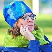 """Аксессуары ручной работы. Ярмарка Мастеров - ручная работа """"Мозаика. Лайм со льдом"""" шапка бини. Handmade."""