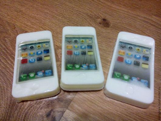 Мыло ручной работы. Ярмарка Мастеров - ручная работа. Купить Мыло-прикол Айфон 4. Handmade. Белый, мыло сувенирное