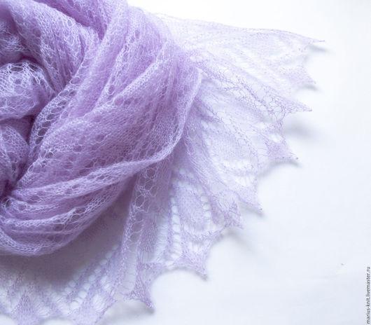 лаванда, лиловый, сиреневый, лавандовый, палантин, паутинка, ажурный палантин, палантин вязаный, палантин ажурный, подарок девушке, подарок женщине, подарок подруге, ажурный шарф, теплый шарф