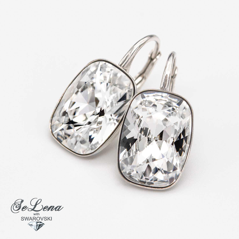 Silver earrings with Swarovski crystals_swarovski_sergi Swarovski, Earrings, Vyshny Volochyok,  Фото №1