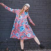 Платья ручной работы. Ярмарка Мастеров - ручная работа Платье для кормящих и беременных, Голубые цветы на красном. Handmade.
