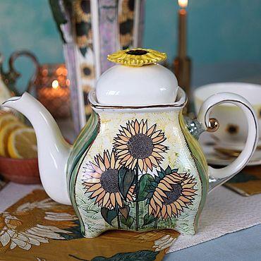 """Посуда ручной работы. Ярмарка Мастеров - ручная работа Чайник заварочный фарфоровый """"Подсолнухи"""". Handmade."""