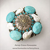 Украшения handmade. Livemaster - original item Brooch with pearl and turquoise Gift of Neptune.. Handmade.