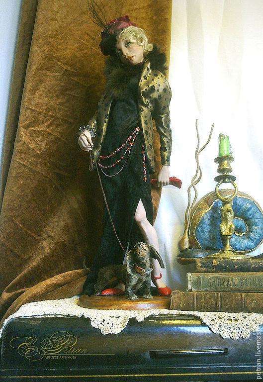 Коллекционные куклы ручной работы. Ярмарка Мастеров - ручная работа. Купить Дама с собачкой. Handmade. Интерьерная кукла, ретро стиль