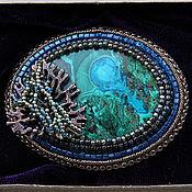 Украшения handmade. Livemaster - original item Brooch beaded with chrysocolla. Handmade.