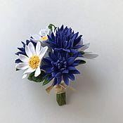 Украшения handmade. Livemaster - original item Brooch-boutonniere with cornflowers and daisies. Handmade.