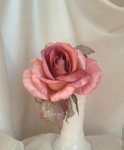 """Броши ручной работы. Ярмарка Мастеров - ручная работа. Купить Роза из шелка """"Танцующая с рассветом"""". Цветы из шелка. Handmade. Роза"""