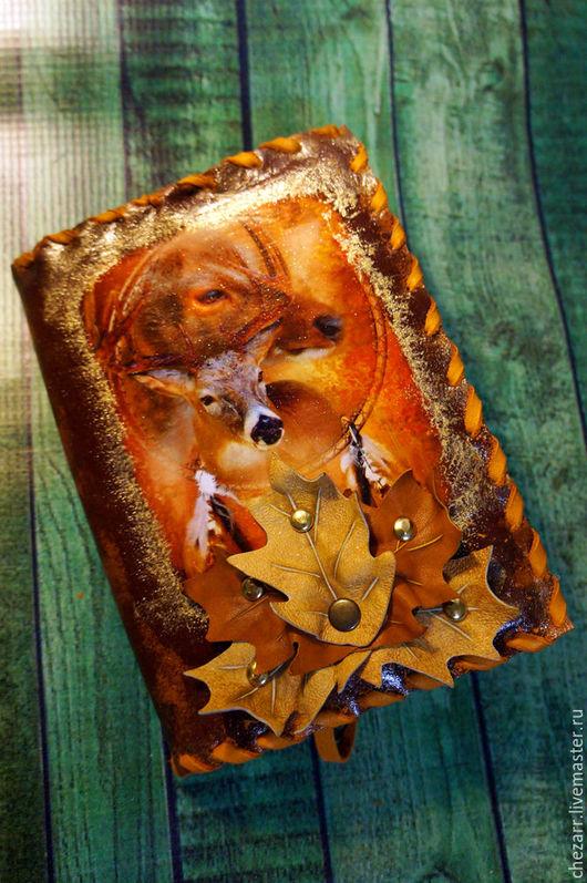"""Блокноты ручной работы. Ярмарка Мастеров - ручная работа. Купить блокнот ручной сборки """"Шорохи осени"""" (олени). Handmade. Рыжий"""