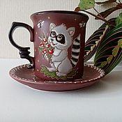 handmade. Livemaster - original item Ceramic decorative vase: Raccoon with bouquet. Handmade.