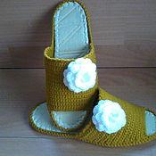 Обувь ручной работы handmade. Livemaster - original item Slippers - flip flops ( white rose ). Handmade.