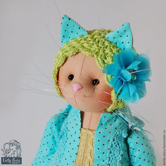 Игрушки животные, ручной работы. Ярмарка Мастеров - ручная работа. Купить Кошечка Rachal. Handmade. Голубой, текстильная кукла, цветок