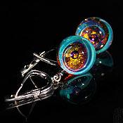 Украшения handmade. Livemaster - original item Earring balls Glitter 2. Turquoise, purple, gold. Space. Crystal. Handmade.