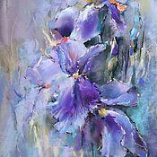 Картины и панно handmade. Livemaster - original item Painting flowers pastel Lilac irises (turquoise purple painting). Handmade.