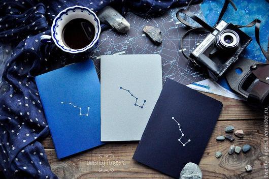 """Блокноты ручной работы. Ярмарка Мастеров - ручная работа. Купить Набор из 3-х тетрадей """" Ночь"""" А5. Handmade."""