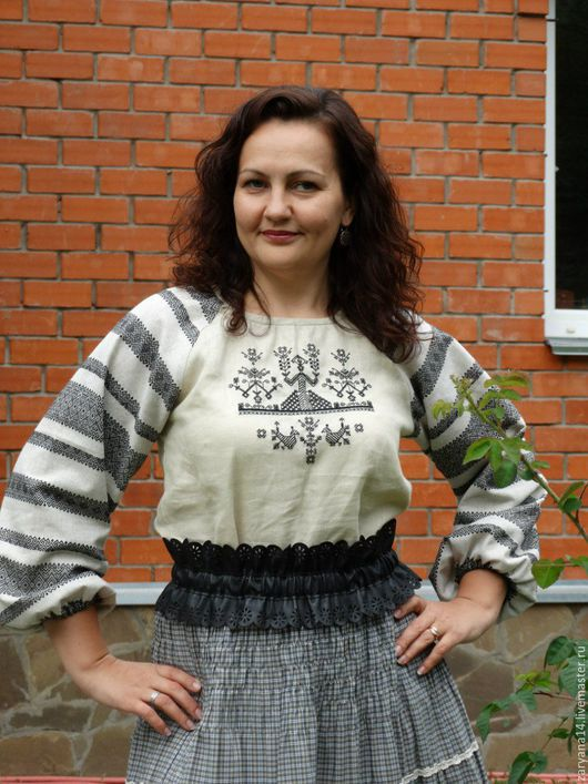 """Одежда ручной работы. Ярмарка Мастеров - ручная работа. Купить Блузка """"Макошь"""" с  орнаментом на рукавах. Handmade. Серый, славянская блузка"""
