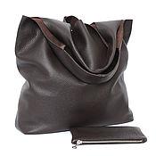 Сумки и аксессуары handmade. Livemaster - original item Brown leather Bag Bag medium Package string Bag shopper t shirt. Handmade.