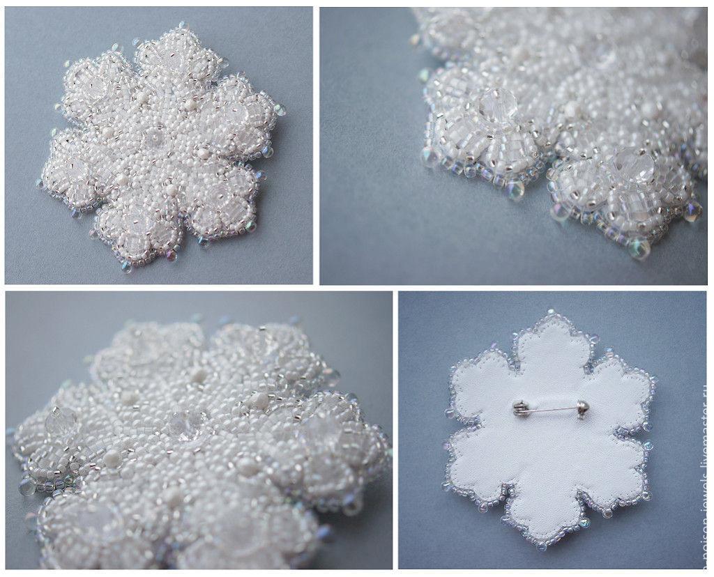 Снежинка из бисера вышивка бисером