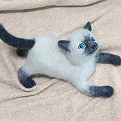 Куклы и игрушки handmade. Livemaster - original item Siamese kitten Rudik. felted toy made of wool. Handmade.