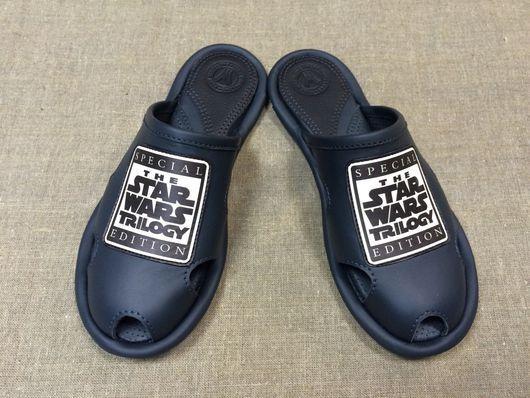 """Обувь ручной работы. Ярмарка Мастеров - ручная работа. Купить Кожаные тапочки """"Star Wars""""trilogy. Handmade. Тапочки, мужской подарок"""