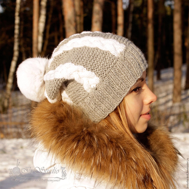 Шапка вязаная с меховым помпоном Белые косы серая с белым, Шапки, Москва,  Фото №1