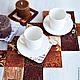 Текстиль, ковры ручной работы. Минутка кофе (декоративная салфетка на стол). UloHome (Наталия). Интернет-магазин Ярмарка Мастеров. Коричневый