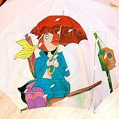 Аксессуары ручной работы. Ярмарка Мастеров - ручная работа Расписной зонт В синем море, в белой пене. Handmade.