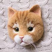 Украшения ручной работы. Ярмарка Мастеров - ручная работа Брошь валяная Рыжий кот. Handmade.