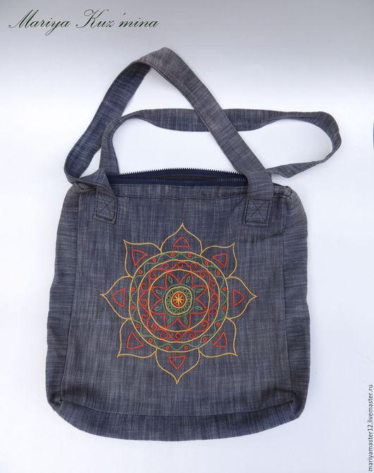 Женские сумки ручной работы. Ярмарка Мастеров - ручная работа. Купить Джинсовая сумка с вышивкой. Handmade. Комбинированный, сумка женская