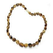 Работы для детей, handmade. Livemaster - original item Green amber beads
