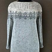 Одежда ручной работы. Ярмарка Мастеров - ручная работа Платье оверсайз с жаккардовой кокеткой. Handmade.